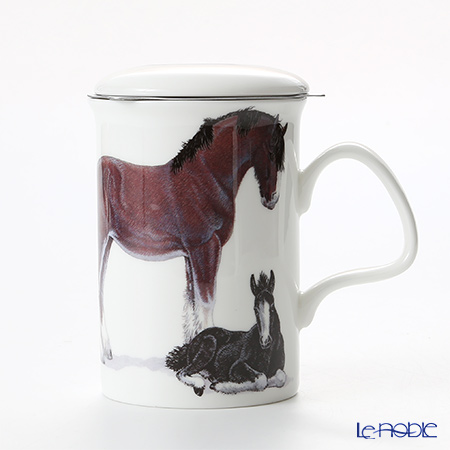 Roy Kirkham Horses Infuser Mug, Family - black & white