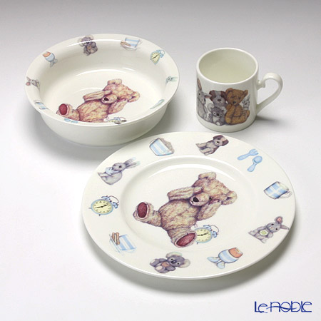 Roy Kirkham Teddy Time Gift Box Set: Bowl, Plate & Cup, Blue