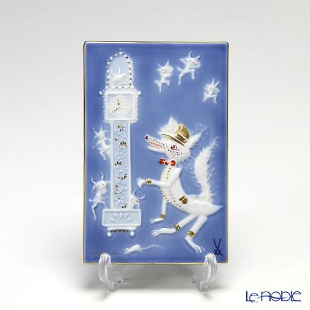 マイセン(Meissen) 陶板 青のメルヘン 930008/9p334 狼と七匹の子やぎ達(額無)