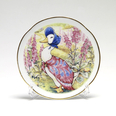 Reutter Porzellan 'Beatrix Potter - Jemima Puddle-Duck (Peter Rabbit)' 62.530/3 Plate 15cm with plate stand