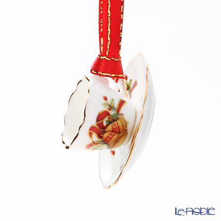 ロイター・ポーセリン クリスマス オーナメント 08581/6 ミニティーカップ&ソーサー ベル