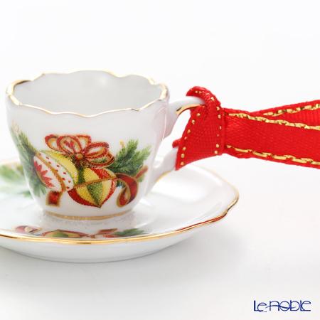 ロイター・ポーセリン クリスマス オーナメント 08581/6ミニティーカップ&ソーサー ボール