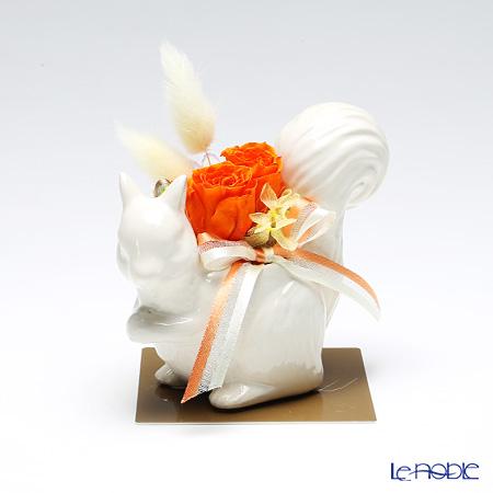 プリザーブドフラワー リス リュディホワイト オレンジ FK-07
