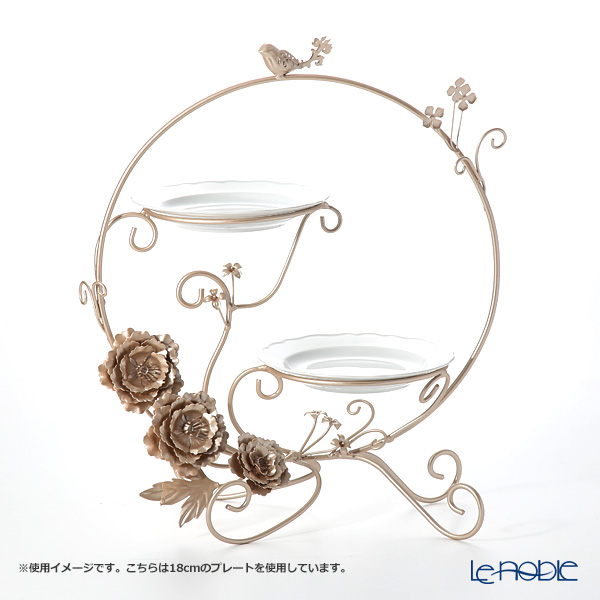Afternoon tea cakes and tea stand Peony plate 2 cardboard holder HM-3894 W42xD24xH46cm iron Deco