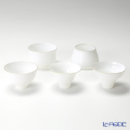 Yamahei Gama (Arita Porcelain) 'Egg Shell - Standard' Sake Cup (set of 5 shapes)