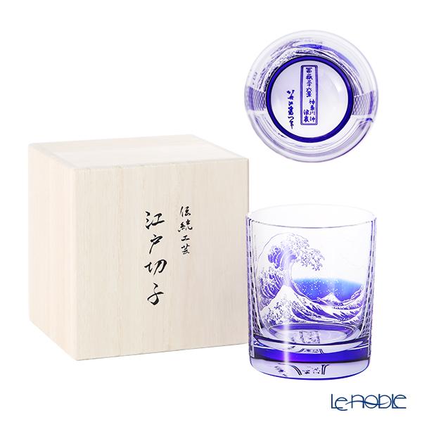 【最後の入荷】GLASS-LAB グラス・ラボ 北斎グラス 江戸砂切子 S-101-001 瑠璃 神奈川沖浪裏