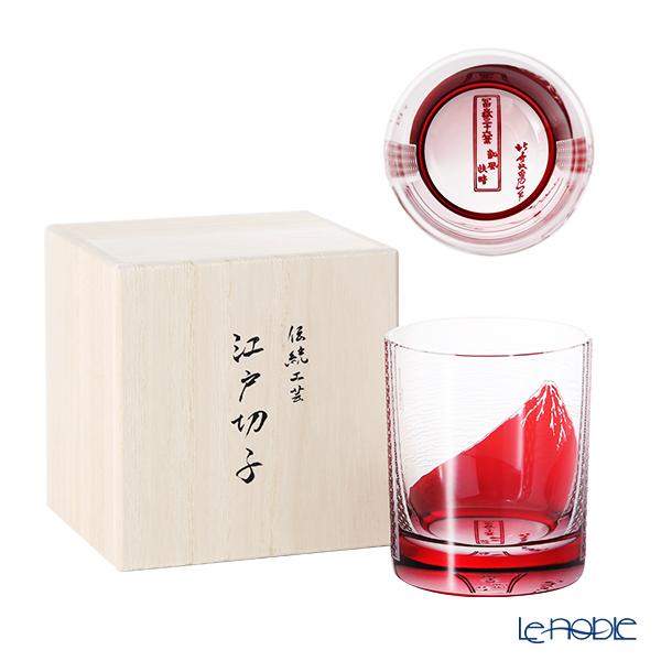 【最後の入荷】GLASS-LAB グラス・ラボ 北斎グラス 江戸砂切子 S-101-002 赤 赤富士