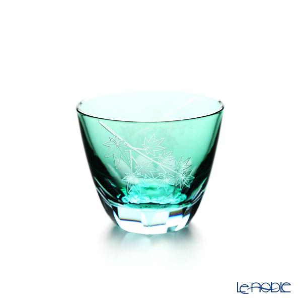 GLASS-LAB / Edo Sand Kiriko Flashed Glass 'Kaede (Maple)' Green S-103-004 OF Tumbler