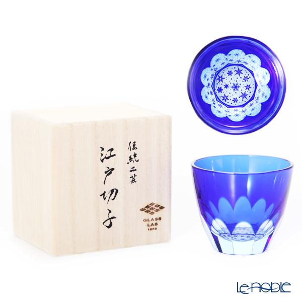 GLASS-LAB / Edo Sand Kiriko Flashed Glass 'Yuki (Snowflake)' Blue S-103-005 OF Tumbler