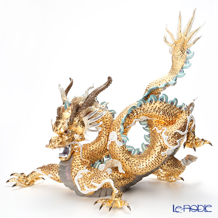 リヤドロ 臥龍(GOLD)GREAT DRAGON- HIGH PORCELAIN 台座付