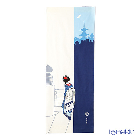 Eirakuya 'Tsukiyo no Maiko / Geisya on a Moonlight Night' Blue [Reprint of 1933 pattern] Tenugui / Japanese Hand Towel 36x91cm