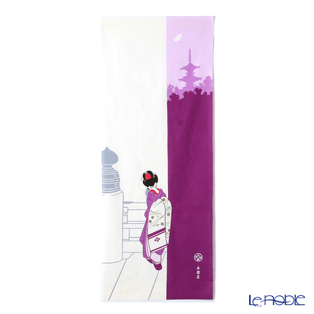 Eirakuya 'Tsukiyo no Maiko / Geisya on a Moonlight Night' Purple [Reprint of 1933 pattern] Tenugui / Japanese Hand Towel 36x91cm