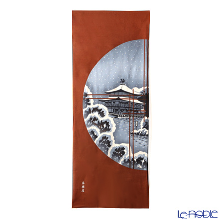 Eirakuya 'En-sou no Fuyu Geshiki / Round Window Winter Scenery with Snow  [Reprint of 1933 pattern] Tenugui / Japanese Hand Towel 36x91cm