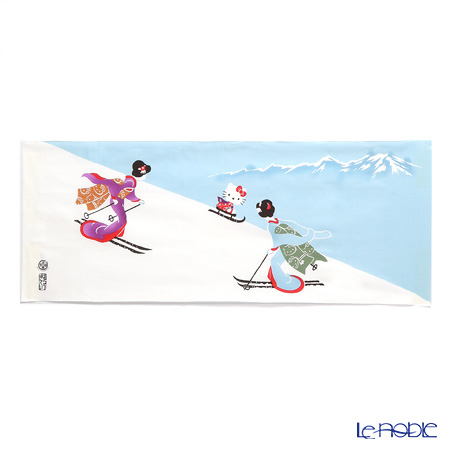Eirakuya x Hello Kitty 'Yo-suberimasuna (Maiko) / Skiing Geisha with Kitty' Tenugui / Japanese Hand Towel 91x36cm