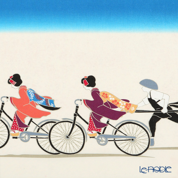 Eirakuya 'Mahciya - Yo Kogaharimasuna / Maiko Geisha Riding a Bicycle' Tenugui / Japanese Hand Towel 91x36cm