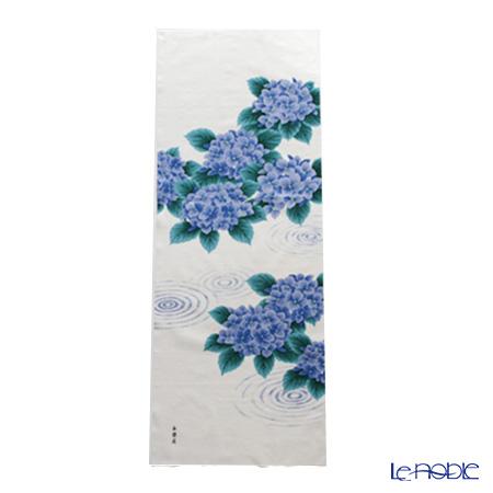 Eirakuya 'Suimon ni Ajisai / Hydrangea Flower & Water Lipple' Blue Tenugui / Japanese Hand Towel 36x91cm