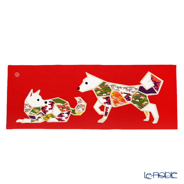 Eirakuya 'Machiya - Inu / Dog (Zodiac 2018)' Red Tenugui / Japanese Hand Towel 91x36cm