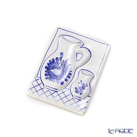ハンガリー陶器 マグネット カラフェ柄長方形 ローズブルー
