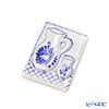 ハンガリー陶器 マグネットカラフェ柄長方形 ローズブルー