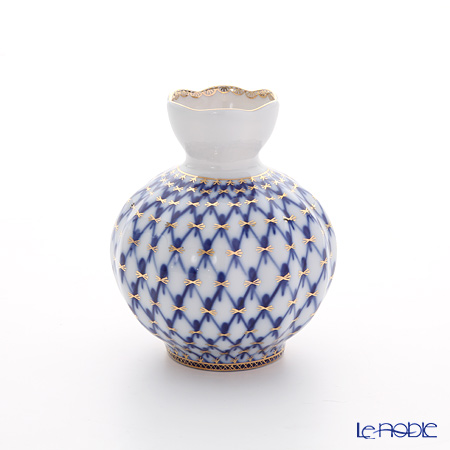 Imperial Porcelain Cobalt Net Tulip Vase for Flowers H120 mm