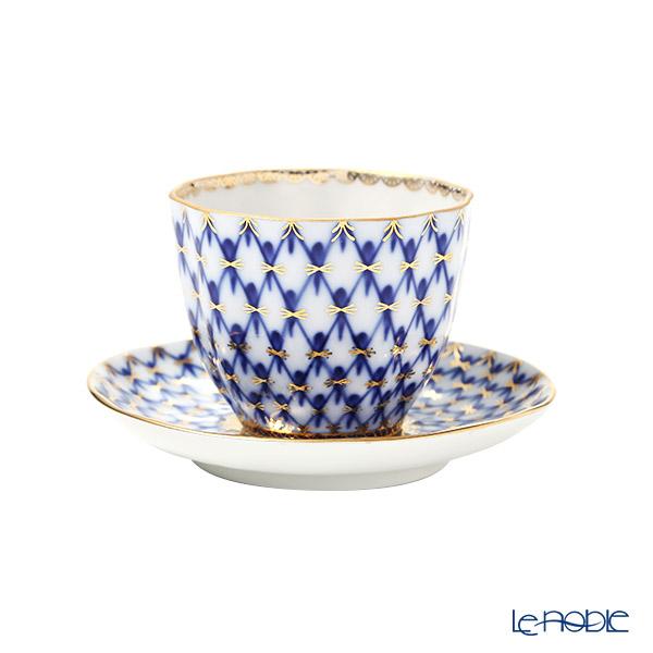 Imperial Porcelain / Lomonosov 'Cobalt Net' Japanese Cup & Saucer