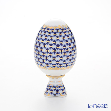 Imperial Porcelain / Lomonosov 'Cobalt Net Blue' Easter Egg with Stand