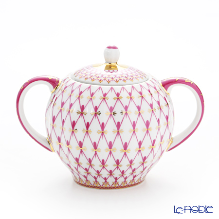 Imperial Porcelain / Lomonosov 'Net Blues Pink - Tulip' Sugar Pot 300ml