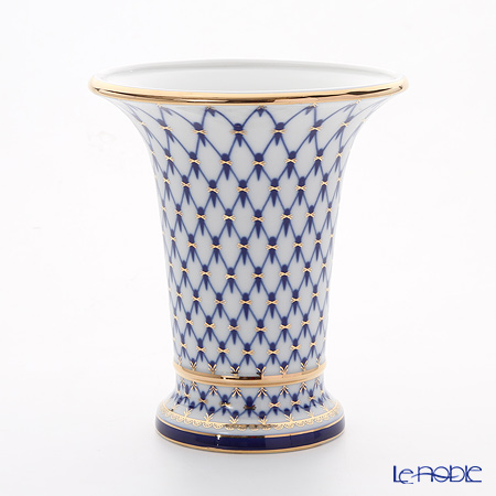 Imperial Porcelain Cobalt Net Empire Vase for Flowers 20.3 cm