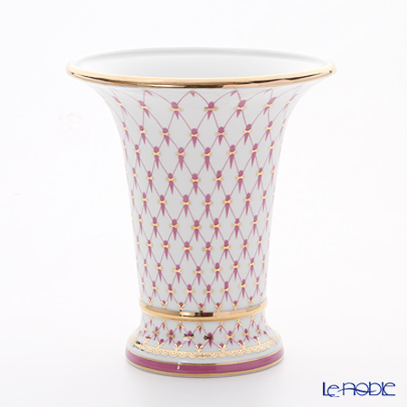 Imperial Porcelain Blues Pink Net Empire Vase for Flowers 20.3 cm