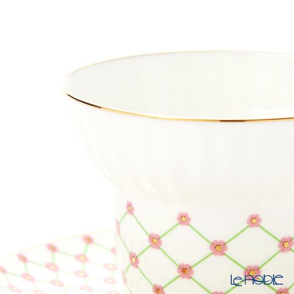 Imperial Porcelain / Lomonosov 'Green Net Pink Flower' Tea Cup & Saucer 155ml