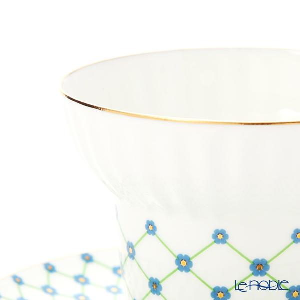 Imperial Porcelain / Lomonosov 'Green Net Blue Flower' Tea Cup & Saucer 155ml