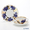 Imperial Porcelain / Lomonosov 'Golden Garden - Tulip' Cobalt Blue Tea Cup & Saucer, Plate (set of 2 for 1 person)