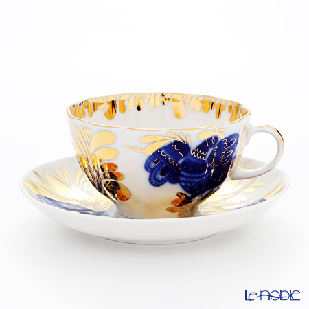 Imperial Porcelain / Lomonosov 'Golden Garden - Tulip' Cobalt Blue Tea Cup & Saucer 250ml