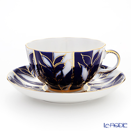 Imperial Porcelain / Lomonosov 'Winter Evening - Tulip' Cobalt Blue Tea Cup & Saucer 250ml