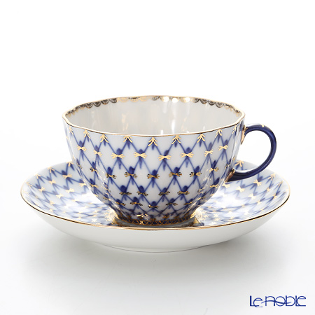 Imperial Porcelain Cobalt Net Tulip Tea Cup with Saucer 8.45 oz / 250 ml
