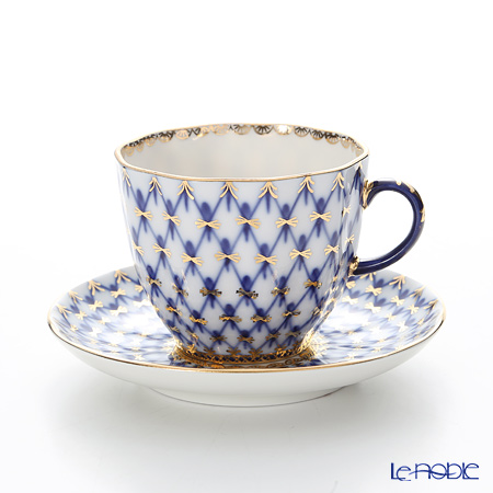 Imperial Porcelain Cobalt Net Tulip Coffee Cup with Saucer 4.7 oz / 140 ml
