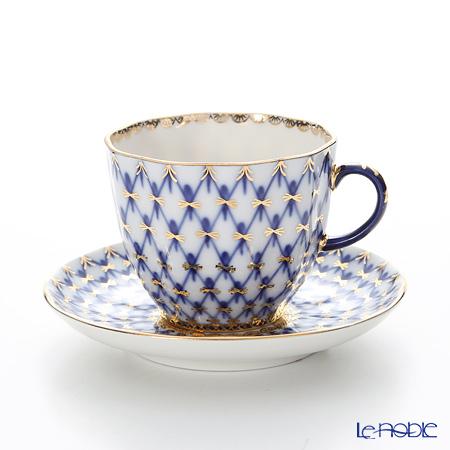 ロシア食器 インペリアル・ポーセリン コバルトネットコーヒーカップ&ソーサー 140cc