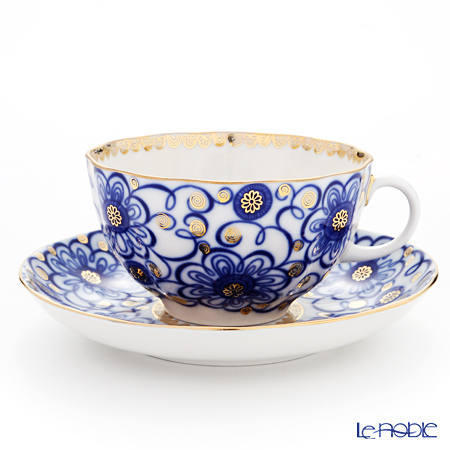 Imperial Porcelain / Lomonosov 'Winding Twig - Tulip' Cobalt Blue Tea Cup & Saucer 250ml