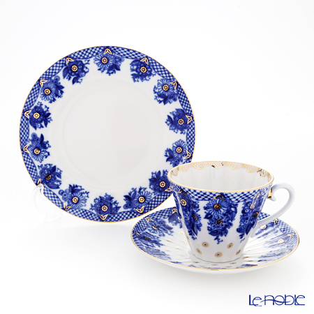 Imperial Porcelain / Lomonosov 'Bridesmaid - Radial' Blue Tea Cup & Saucer, Plate (set of 2 for 1 person)