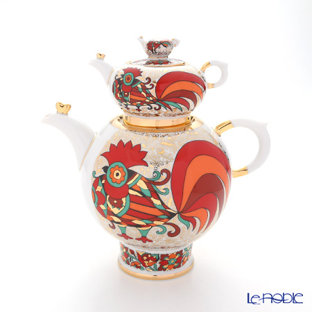 Imperial Porcelain / Lomonosov 'Red Rooster - Family' Tea Pot set (1800ml, 250ml)