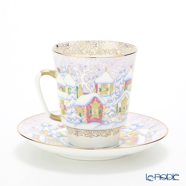 Imperial Porcelain / Lomonosov 'Winter Day - May' Coffee Cup & Saucer 165ml