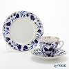Imperial Porcelain / Lomonosov 'Blue Belles - Radial' Cobalt Tea Cup & Saucer, Plate (set of 2 for 1 person)