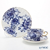 Imperial Porcelain / Lomonosov 'Singing Garden - Marquee' Blue & Gold Tea Cup & Saucer, Plate (set of 2 for 1 person)