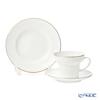 Imperial Porcelain / Lomonosov 'Golden Edging - Wave' Tea Cup & Saucer, Plate (set of 2 for 1 person)