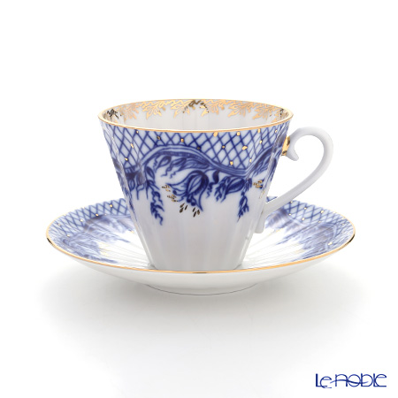 Imperial Porcelain / Lomonosov 'Blue Rhapsody - Radial' Tea Cup & Saucer 250ml