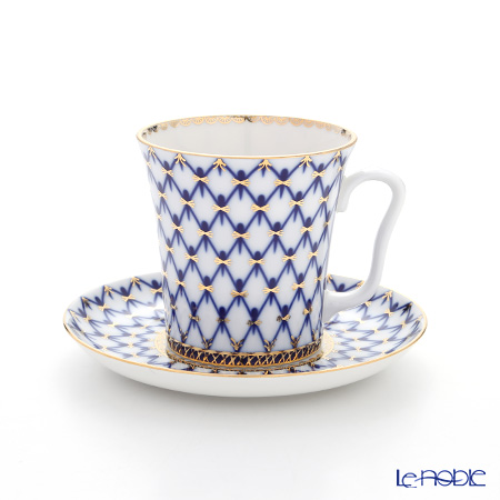 Imperial Porcelain Cobalt Net Leningrad Mug with Saucer 360 ml