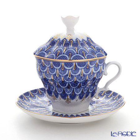 Imperial Porcelain / Lomonosov 'Forget Me Not' Blue Covered Cup & Saucer 250ml