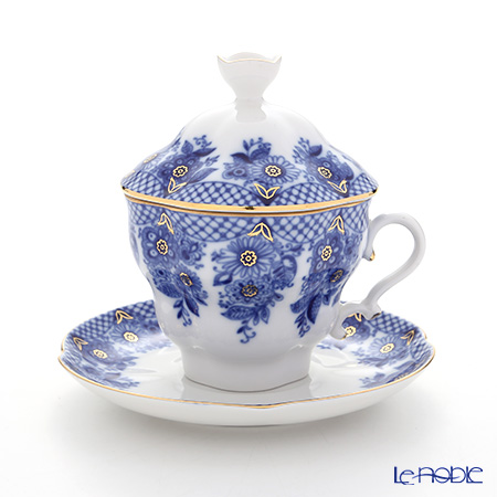 Imperial Porcelain / Lomonosov 'Bridesmaid' Blue Covered Cup & Saucer 250ml