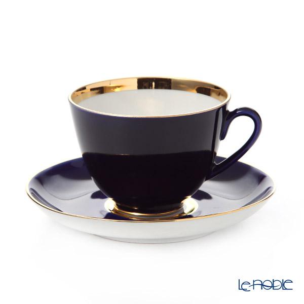Imperial Porcelain / Lomonosov 'Night - Spring' Cobalt Blue Tea Cup& Saucer 250ml