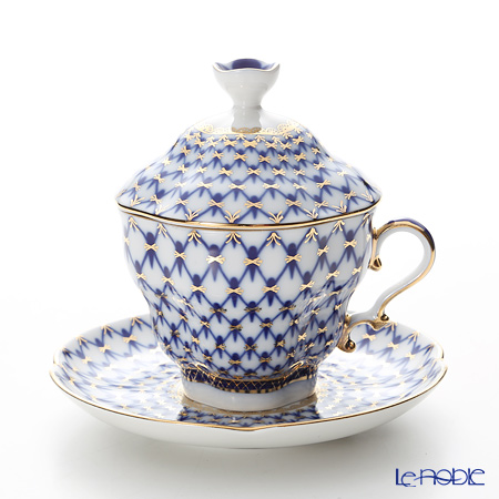 Imperial Porcelain Cobalt Net Gift 2 Covered Cup with saucer 8.45 oz / 250 ml
